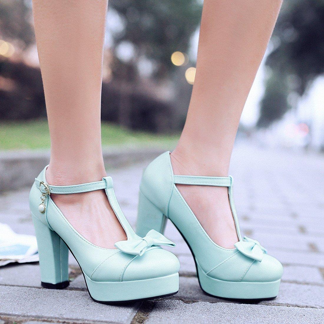 YE Damen Süß T Strap Blockabsatz High Heels Plateau Pumps mit Schleife 10cm Absatz Schuhe