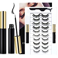 10 Pairs Reusable Magnetic Eyelashes and 2 Tubes of Magnetic Eyeliner Kit, Upgraded 3D 6D Natural Look Magnetic Fake…