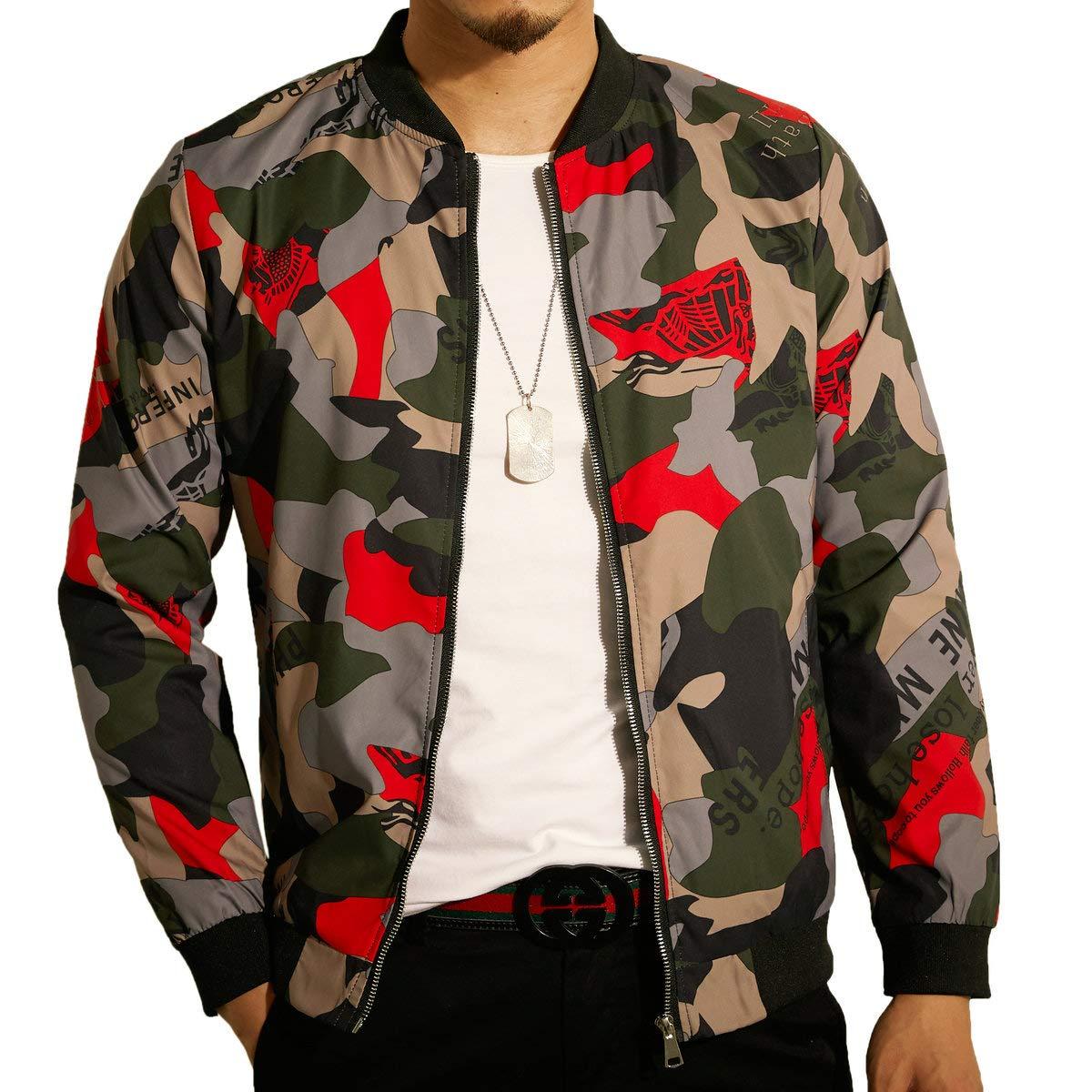 LOGEEYAR Men's Jacket Slim Fit Lightweight Softshell Windbreaker Bomber Jacket Red by LOGEEYAR