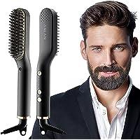 ANLAN Nuevo Cepillo Alisador de Barba con 5 Niveles de Temperatura, Cepillo Barba Electrico Plancha de Pelo Flequillo…