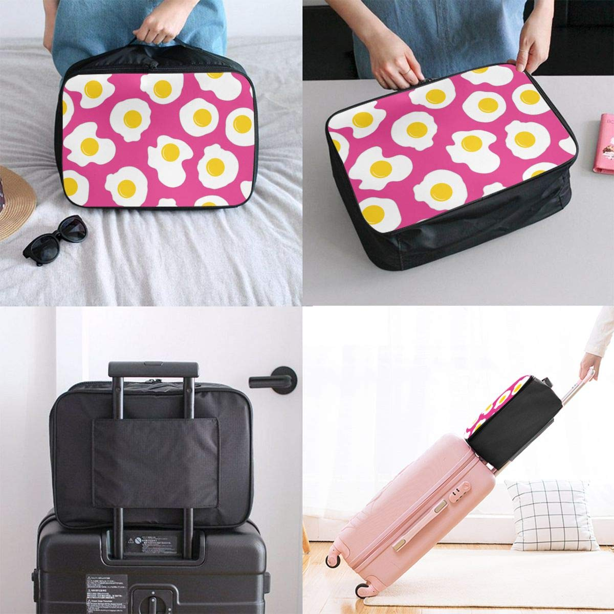 YueLJB Fried Egg Lightweight Large Capacity Portable Luggage Bag Travel Duffel Bag Storage Carry Luggage Duffle Tote Bag