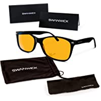 "Swanwick Sleep Blue Light Blocking Glasses - FDA Registered Gamer Glasses and Computer Eyewear for Deep Sleep - Digital Eye Strain Prevention - (Small) - Bonus Book ""7 Ways To Sleep Better"""