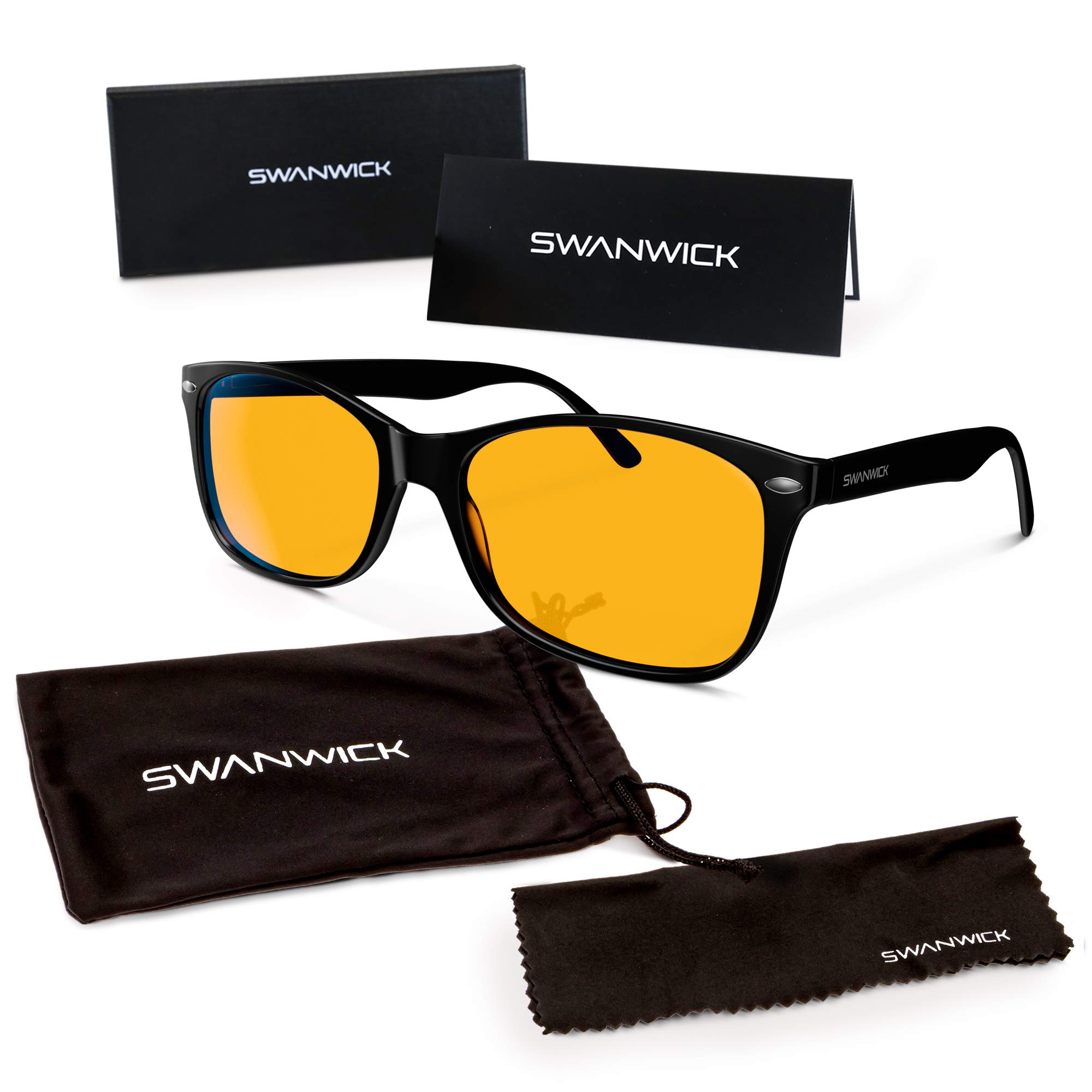 Swannies Blue Light Blocking Computer Glasses with Orange Lens for Night Use - UV Protection Anti Eye Strain Tired Eye Relief (Black) Regular by Swanwick Sleep
