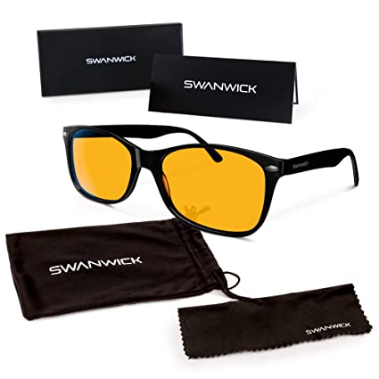 Swannies Blue Light Blocking Computer Glasses with Orange Lens for Night Use - UV Protection Anti Eye Strain Tired Eye Relief (Black) Regular best men's blue-light-blocking glasses