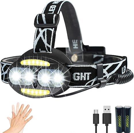 Linterna frontal LED Recargable de Trabajo, con Sensor, Sólo 130g ...