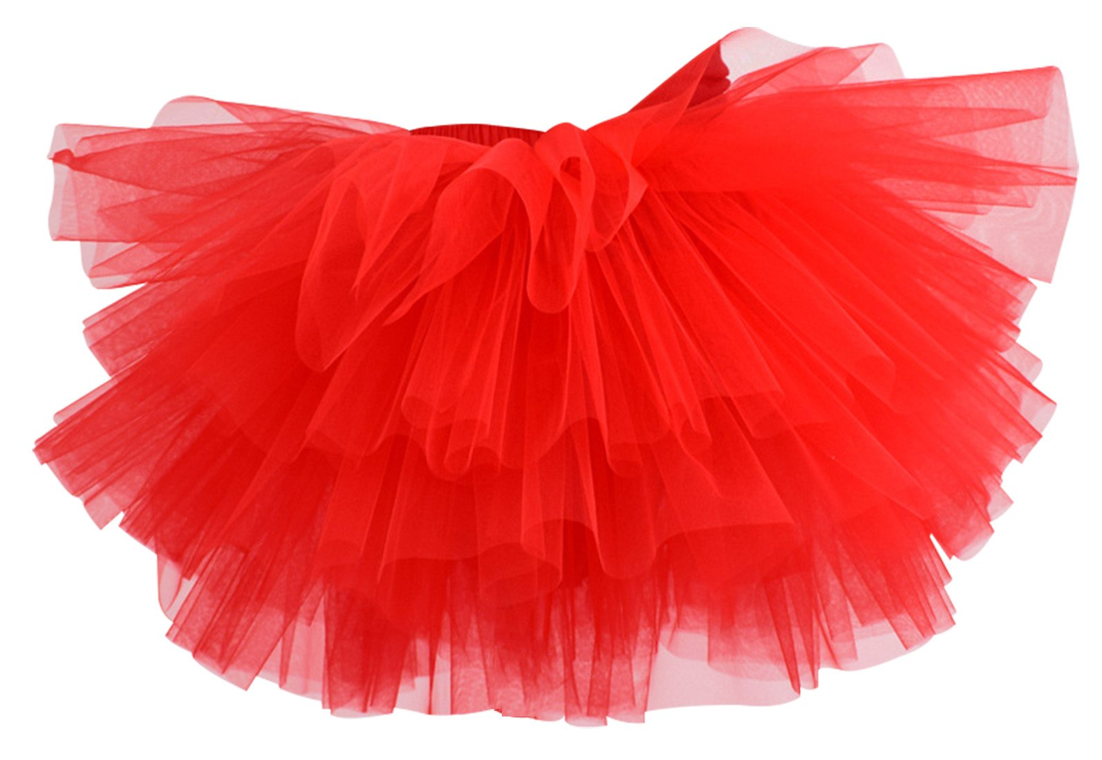 Aivtalk Girls Six Layer Skirts Multi Layered Gauze Tiered Tutu For Toddlers Casual Mini Skirt 6-7T Red
