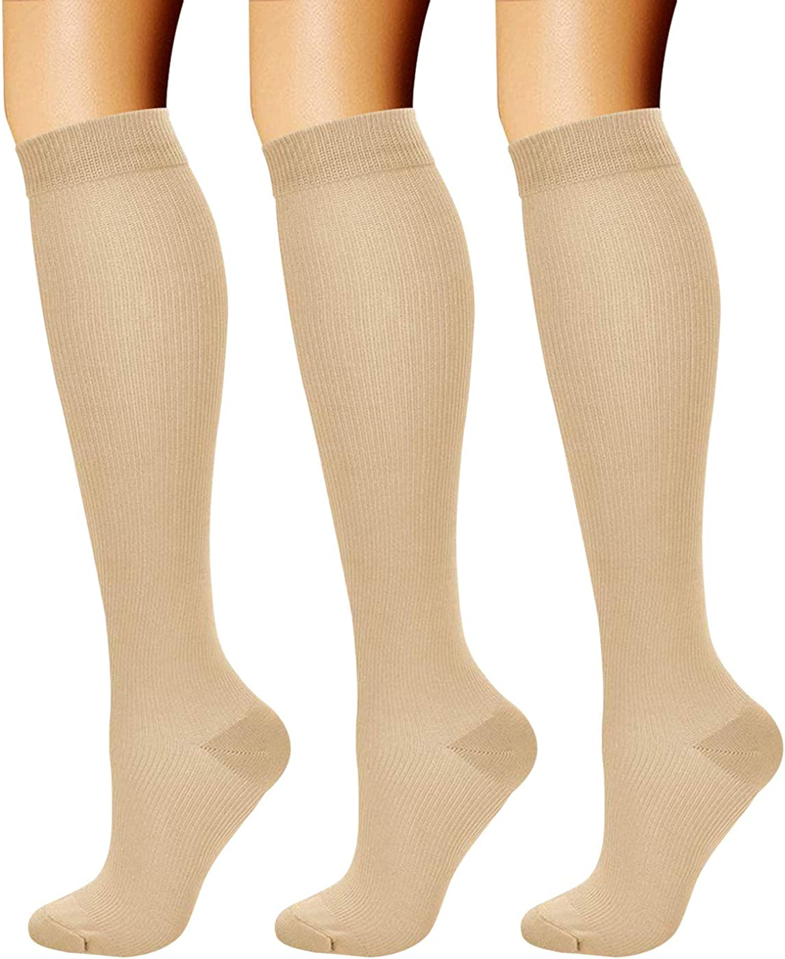 CHARMKING Compression Socks for Women & Men (3 Pairs) 15-20 mmHg is Best for Athletic, Running, Flight Travel, Cycling