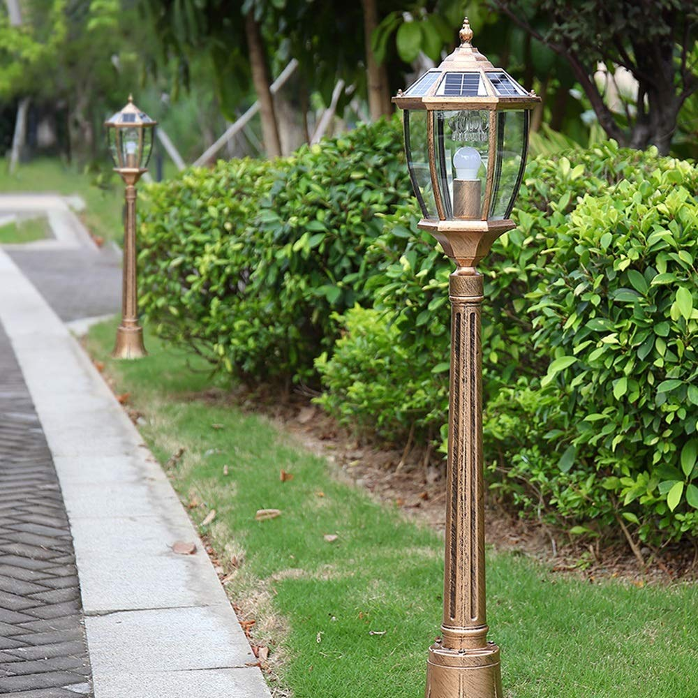 HDMY Solar Energy Vienna Garden Light LED Landscape Street Light Waterproof Lawn Lighting Retro Outdoor Post Lamp High Pole Community Outdoor Grass Light (Color : Bronze-2.1m)