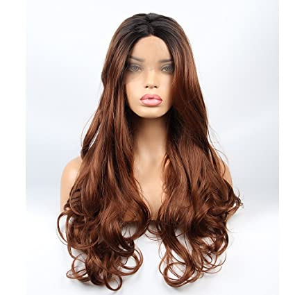 vvBing Synthetic Lone Lace Front Wigs Glueless Brown 2 Tones Ombre Dark Roots to Light Brown