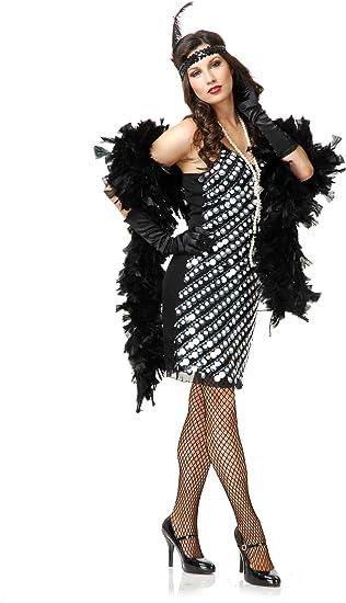 1920s Gatsby Party Flapper Girl TEEN Costume Black Fringe Dress Headband L 11//13
