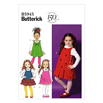 9027328cc6c12 Image Unavailable. Image not available for. Color  Butterick Patterns B5945  Children s Girls  Jumper Sewing Template
