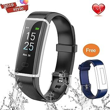 Souleader Montre Connectée Cardiofréquencemètre Bracelet Connecté Podomètre GPS Fitness Tracker dActivité Tension Artérielle Smartwatch