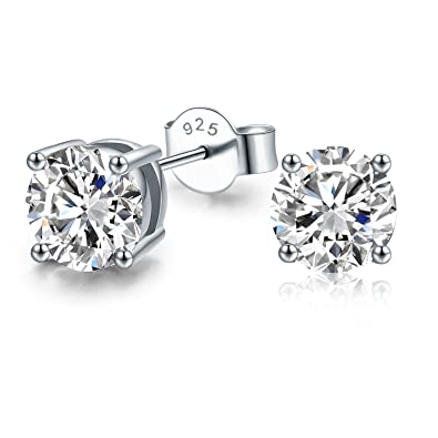 Isabella Silver 925 Solid Sterling Silver Round Stud Earrings made with 4mm Swarovski Zirconia - Clear UuZkP0o