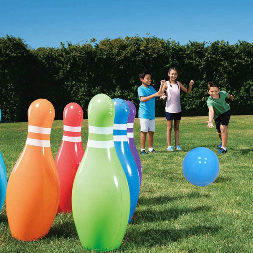 TOYANDON 7 Pcs Inflatable Bowling Set for Kids and Adults Bowling Game Indoor or Outdoors Bowling Toy