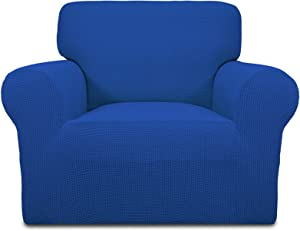 Easy-Going Stretch Chair Sofa Slipcover 1-Piece Couch Sofa Cover Furniture Protector Soft with Elastic Bottom for Kids Spandex Jacquard Fabric Small Checks(Chair,Classic Blue)