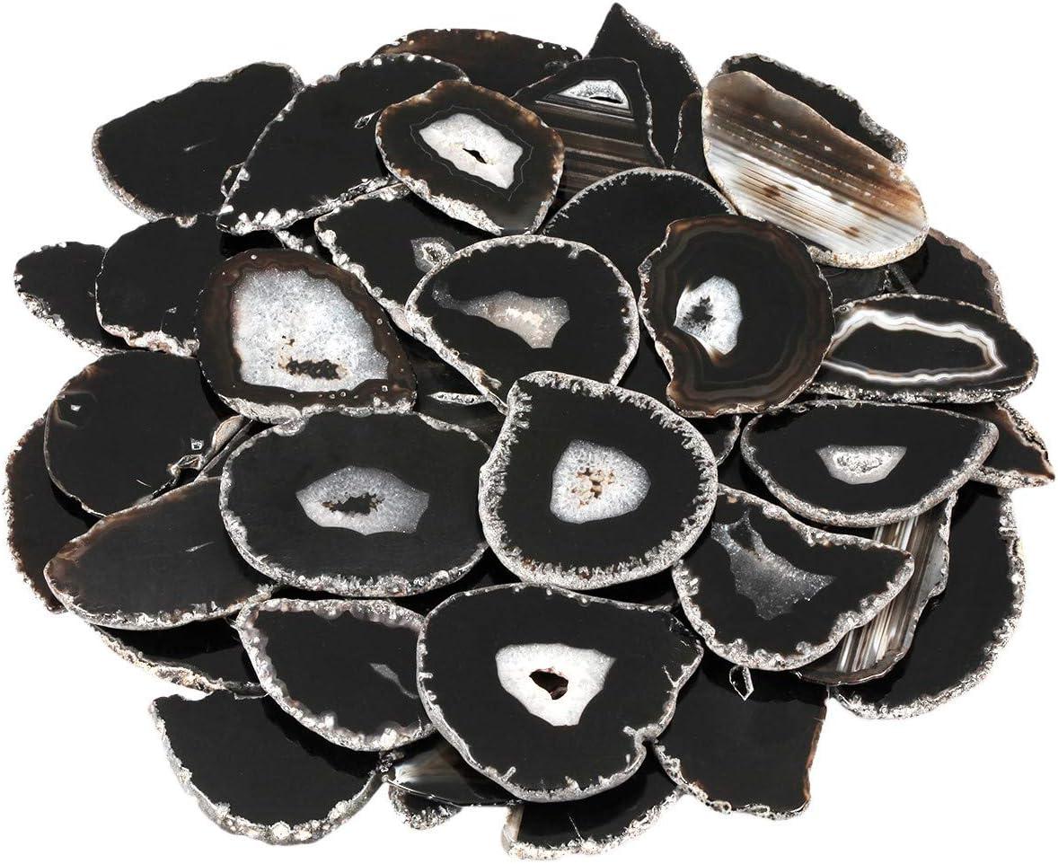 mookaitedecor 12 Unidades de geode Natural Discos de ágata, Irregulares pulidos, ágata, Piedras Preciosas, Nombres, Tarjetas para Boda, Negro