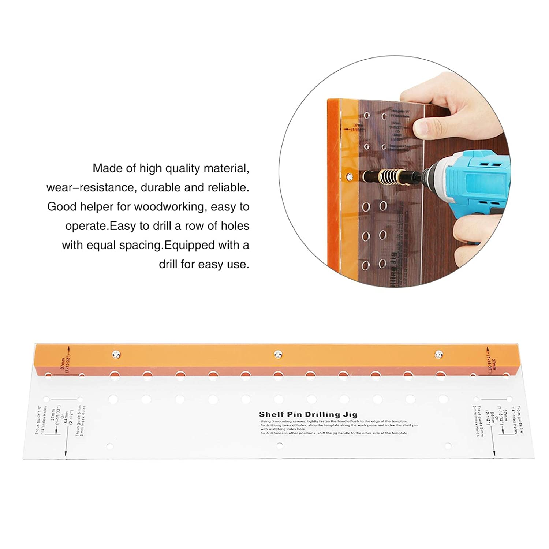 plantilla de pasador de estante autocentrante carpinter/ía Plantilla de perforaci/ón para carpinter/ía Gu/ía de orificios para f/ábrica de muebles localizador autocentrante