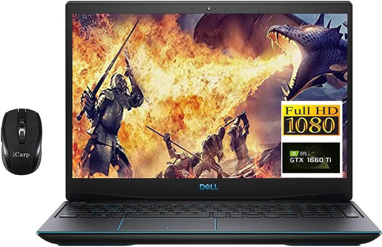 "2020 Premium Dell G3 15 3590 Gaming Laptop, 15.6"" 1080p FHD, 9th Gen Intel Quad-Core i5-9300H (Beats i7-7700HQ), 8GB DDR4 512GB PCIe SSD, 6GB GTX 1660Ti Max-Q Backlit Win 10 + iCarp Wireless Mouse"