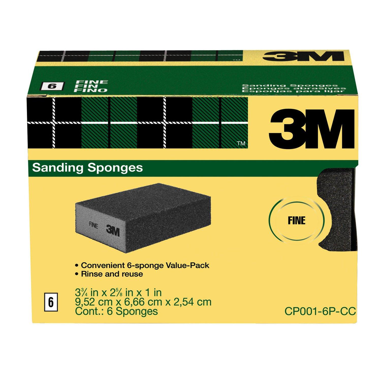 3M Sanding Sponge, Fine Grit, 6-Count