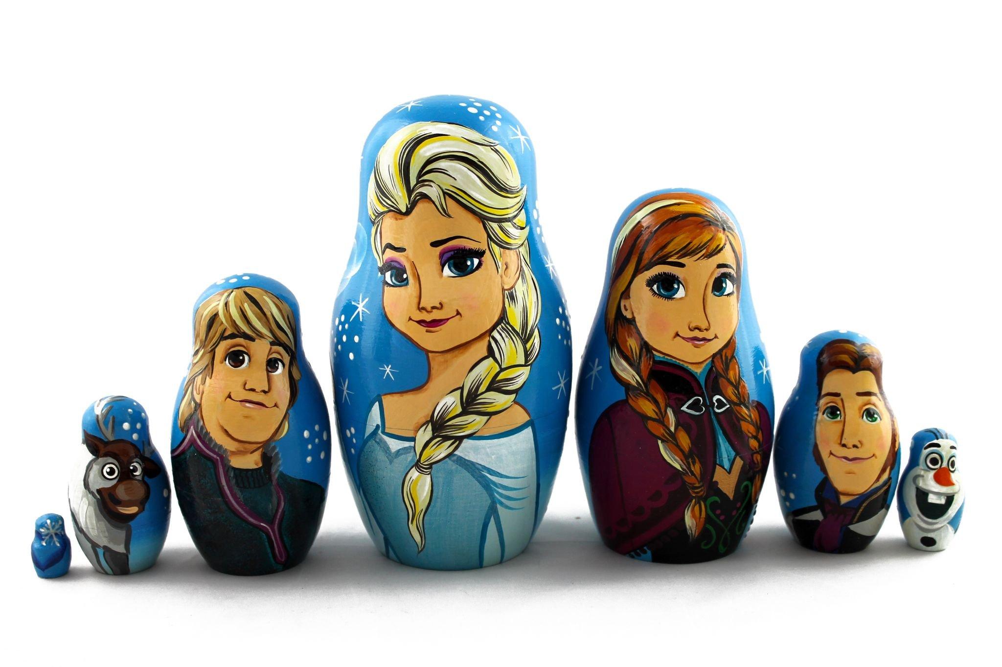 Matryoshka Russian Nesting Doll Babushka Beautiful Cartoon Characters Frozen Elsa Elza 7 Pieces Pcs Wooden Hand Painted Souvenir Craft Gift by MATRYOSHKA&HANDICRAFT by MATRYOSHKA&HANDICRAFT (Image #6)