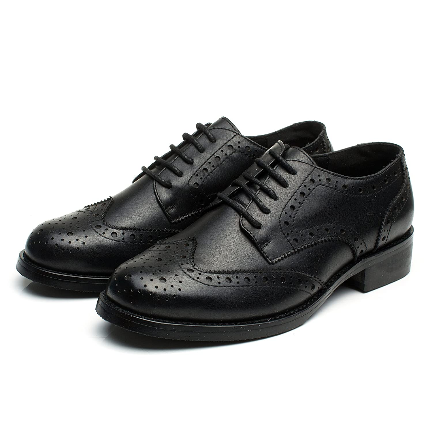 599e1be26b Amazon.com | U-lite Women's Perforated Lace-up Wingtip Leather Flat Oxfords  Vintage Oxford Shoes Brogues | Oxfords