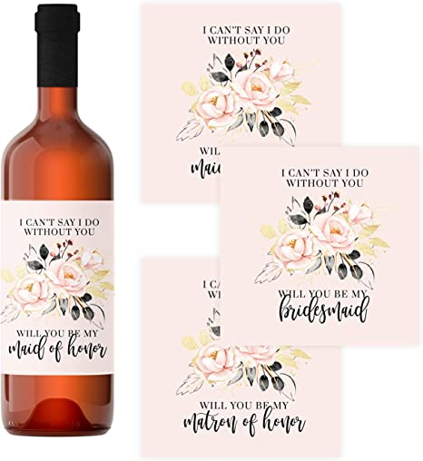 Amazon Com Rose Gold Bridesmaid Wine Bottle Labels 12 Pack Be My Maid Of Honor Matron Of Honor Asking Wedding Party Proposal Stickers Bridal Attendant Gift Box Ideas Modern