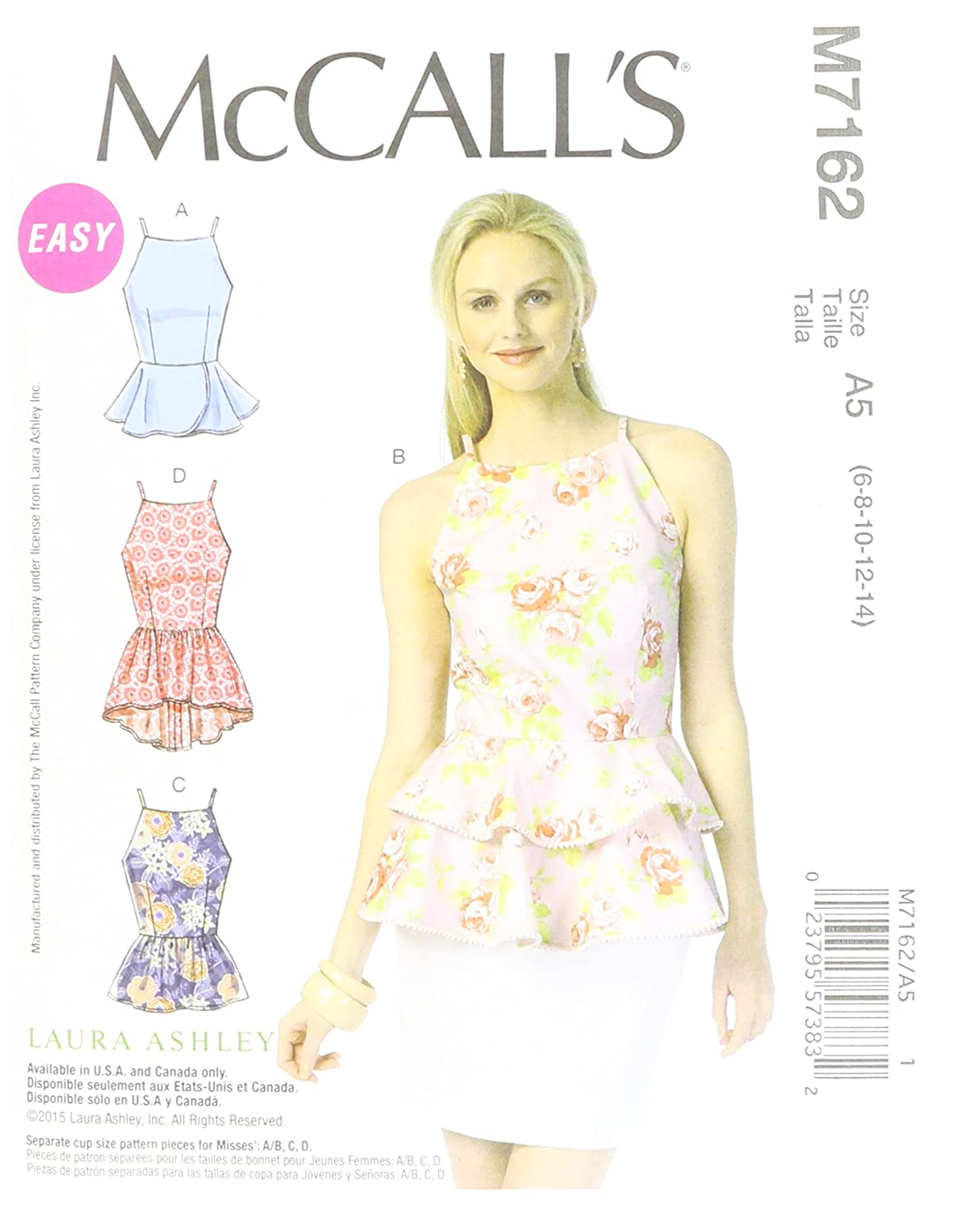 Amazon.com: McCall\'s Patterns M7162 Misses\' Tops Sewing Template, A5 ...