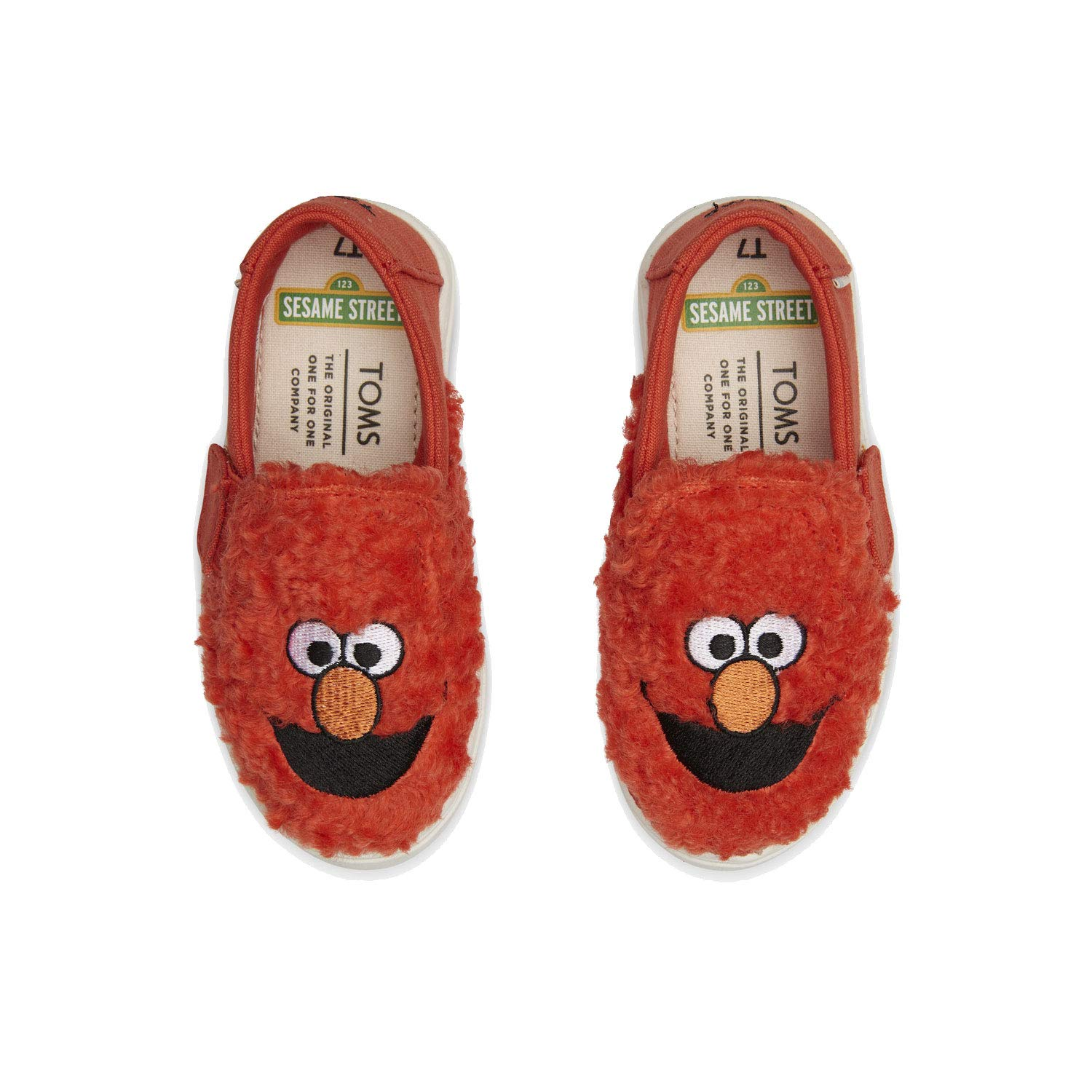 TOMS Sesame Street X Elmo Face Faux Shearling Tiny Luca Slip-Ons 10013649 (Size: 9) Red by TOMS (Image #3)