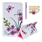 """Case for Samsung Galaxy Tab A 10.1"""" T580 , Cover for Samsung Galaxy Tab A 10.1"""" T580 ,SKYXD New Colorful Drawing Painting [Purple Orchid Butterfly Design] Premium Pu Leather Wallet Flip Smart Book Style with Built In Stand and Credit Card Slots Full Body Protection Case Cover for Samsung Galaxy Tab A 10.1"""" T580 + Purple Stylus + Purple Crown Dust Plug"""