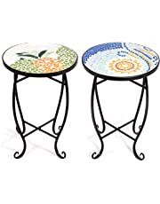 COSTWAY Mosaic Table  Plant Flower Stand  Round Side Table with 4 Patterns in, 36 CM for Balcony, Bistro, Terrace, Living Room, Conservatory, Garden, Outdoor, Gift