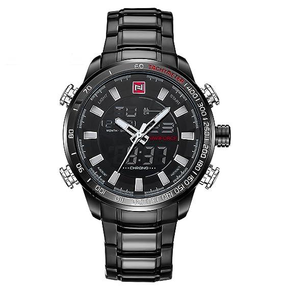 Naviforce reloj de Hombre Deporte Acero Inoxidable Moda cuarzo analógico digital reloj con alarma, fecha
