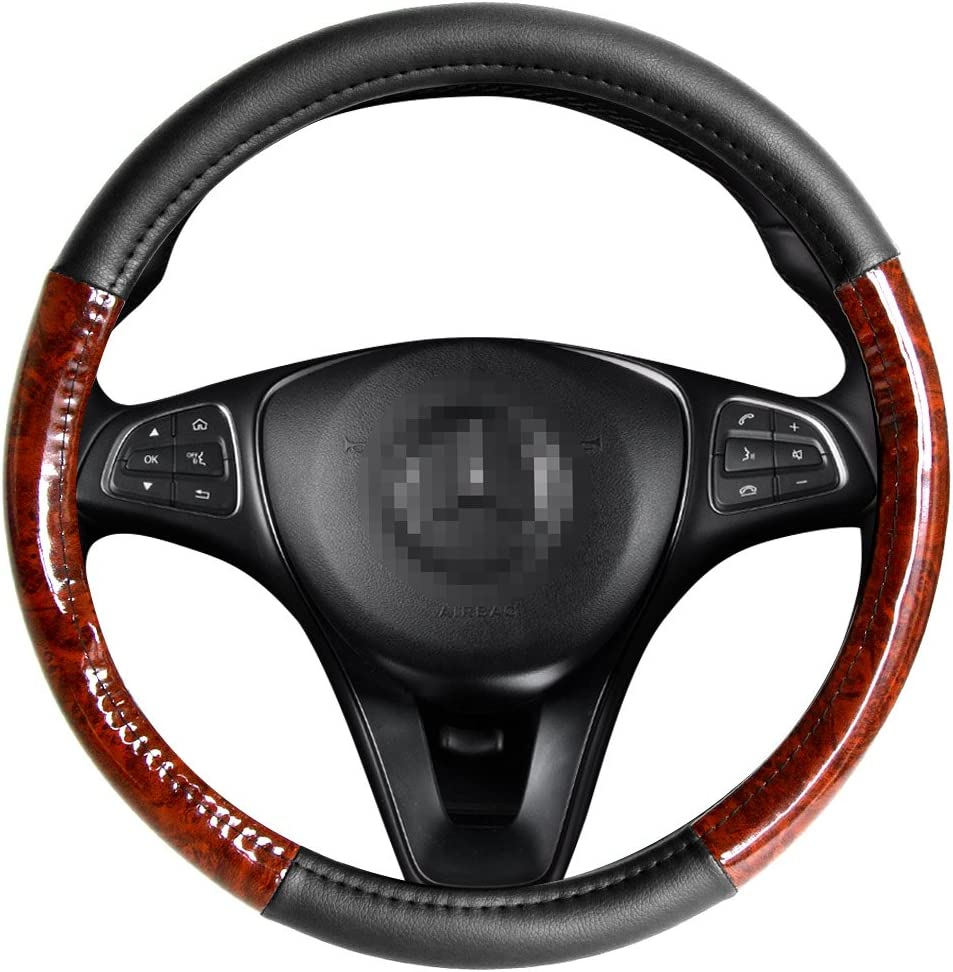 AOTOMIO Black Universal Steering Wheel Cover Deluxe fits 15.5-16 inch Large Size - Light Wood Grain