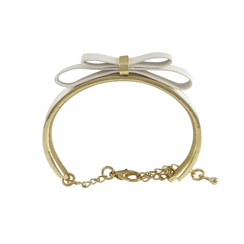 Ivy and Max Gold Finish Enamel Faux Leather Bow Girls Bangle Bracelet 5.5+2 Extender