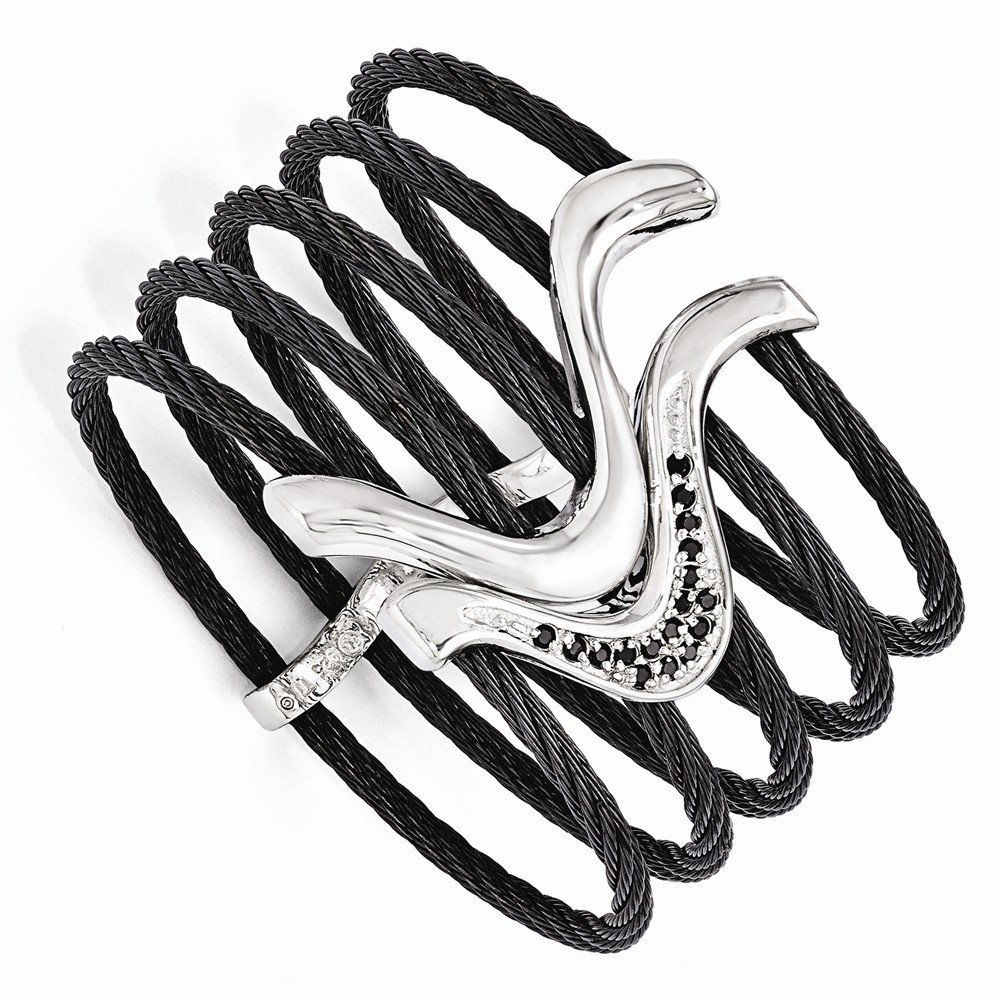 Top 10 Jewelry Gift Edward Mirell Black Ti & Sterling Silver Black Spinel Cable Flex Cuff Bangl