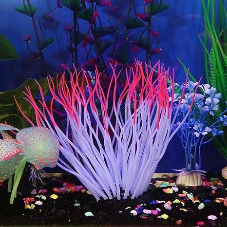Hunpta - Adorno de silicona para acuario, acuario, acuario, pecera, coral artificial