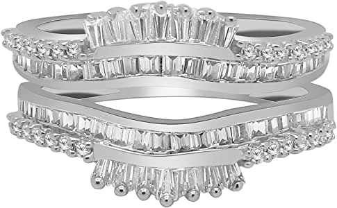 omega jewellery Women's 0.81 Ct 10k White Gold Round & Baguettes Diamond Wedding Band Enhancer Guard Ring Sz 8 White