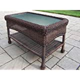 Oakland Living Resin Wicker Coffee Table, 29 by 17.5-Inch, Coffee