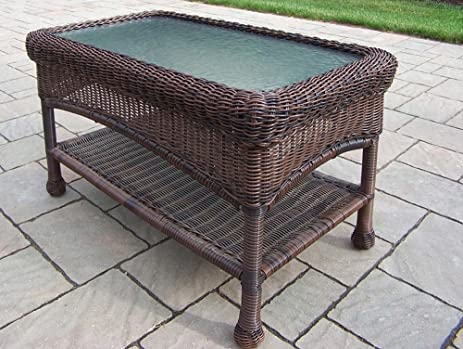 Oakland Living Resin Wicker Coffee Table, 29 By 17.5 Inch, Coffee