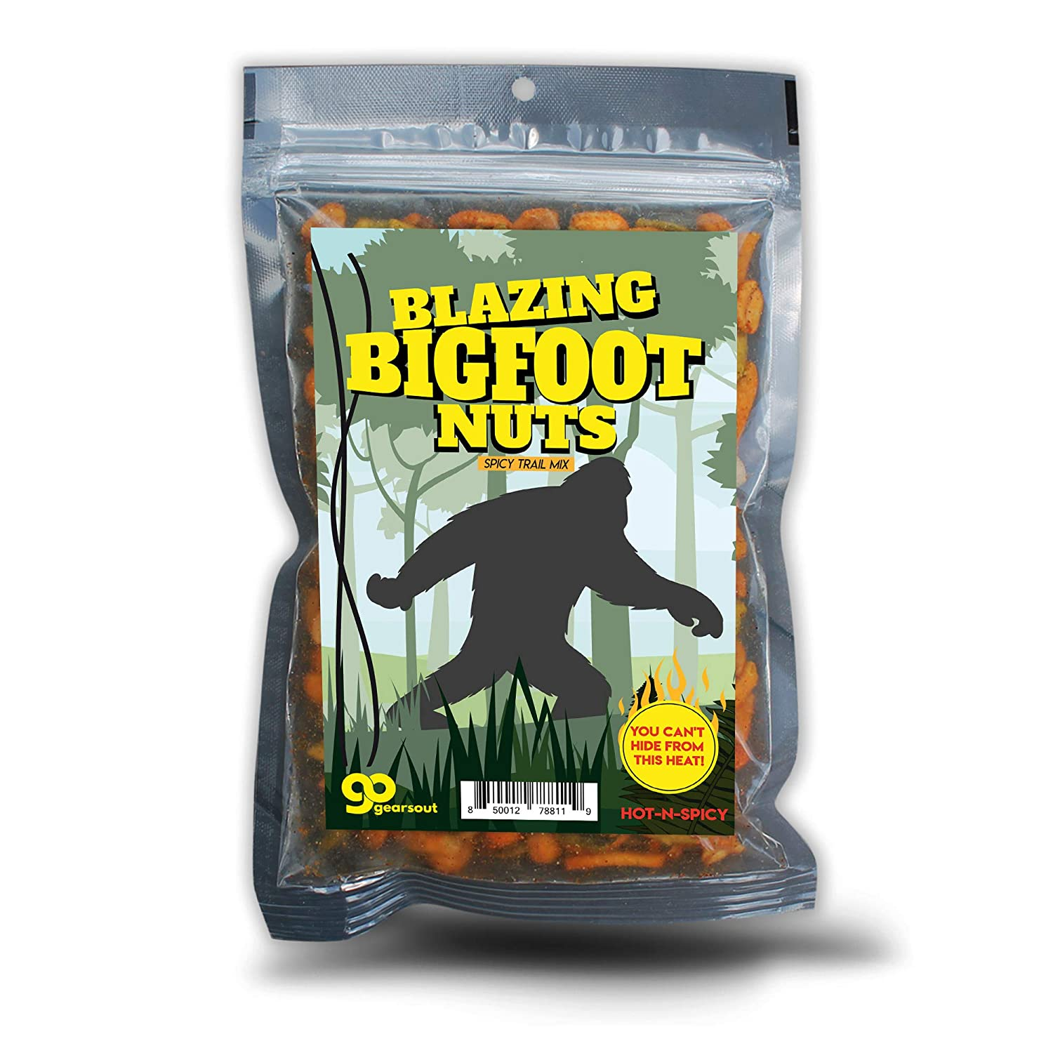 Blazing Bigfoot Nuts Spicy Trail Mix - Funny Sasquatch Design - Spicy Snacks for Men and Women - Premium Blend, Made in the USA