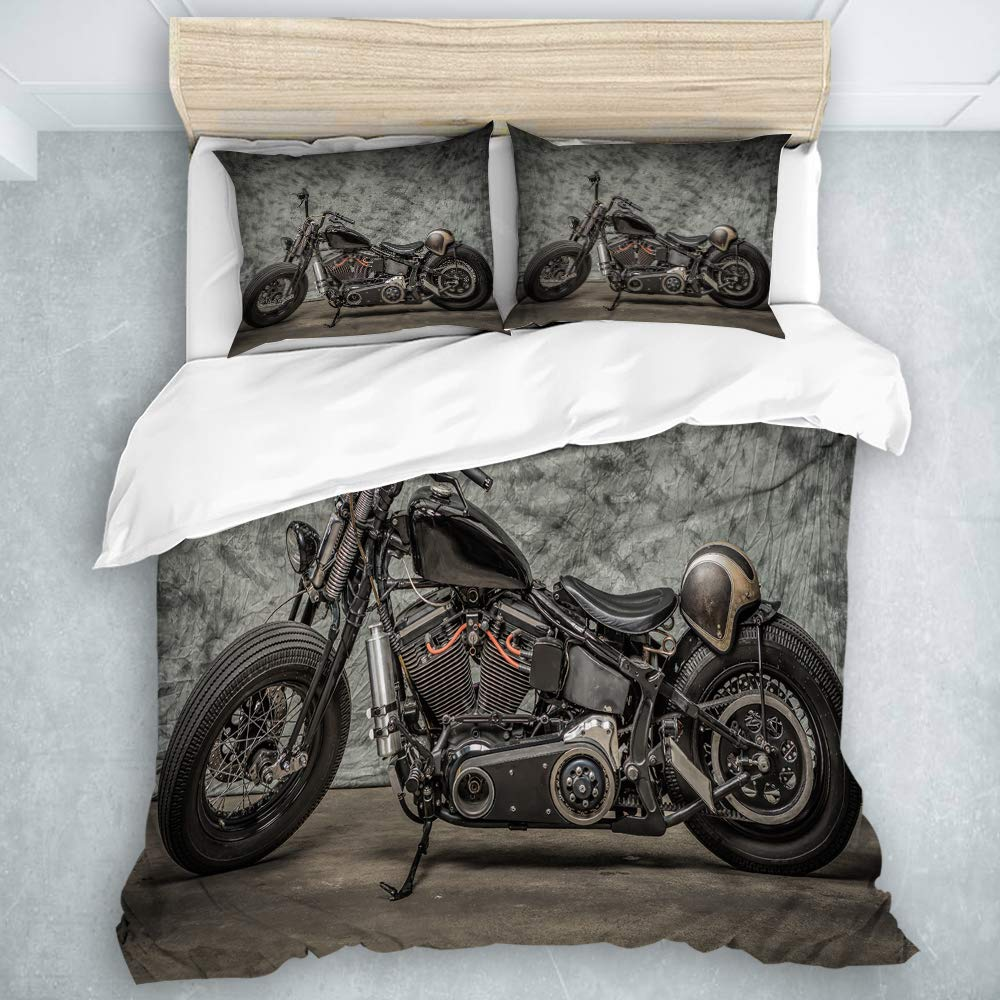 YOLIKA Duvet Cover Set Harley Motorcycle Cool Davidson Vintage Bike Chopper Classic Decorative 3 Piece Bedding Set with 2 Pillow Shams Queen Size