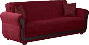 BEYAN Park Avenue Collection Traditional Large Folding Sofa Sleeper Bed with Storage Space and Includes 2 Pillows, Red, Quilt Design