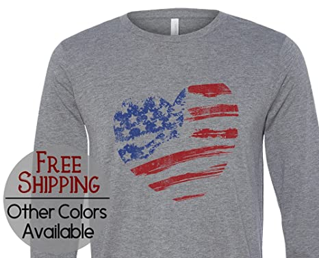 44a35cd5ea his & her threads USA Flag Heart Graphic Long Sleeve Grunge ...