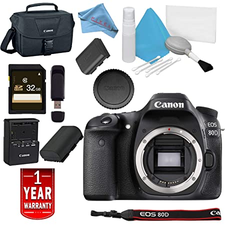 Canon EOS 80D DSLR Camera  Body Only  USA Model Warranty Base Bundle Digital SLRs