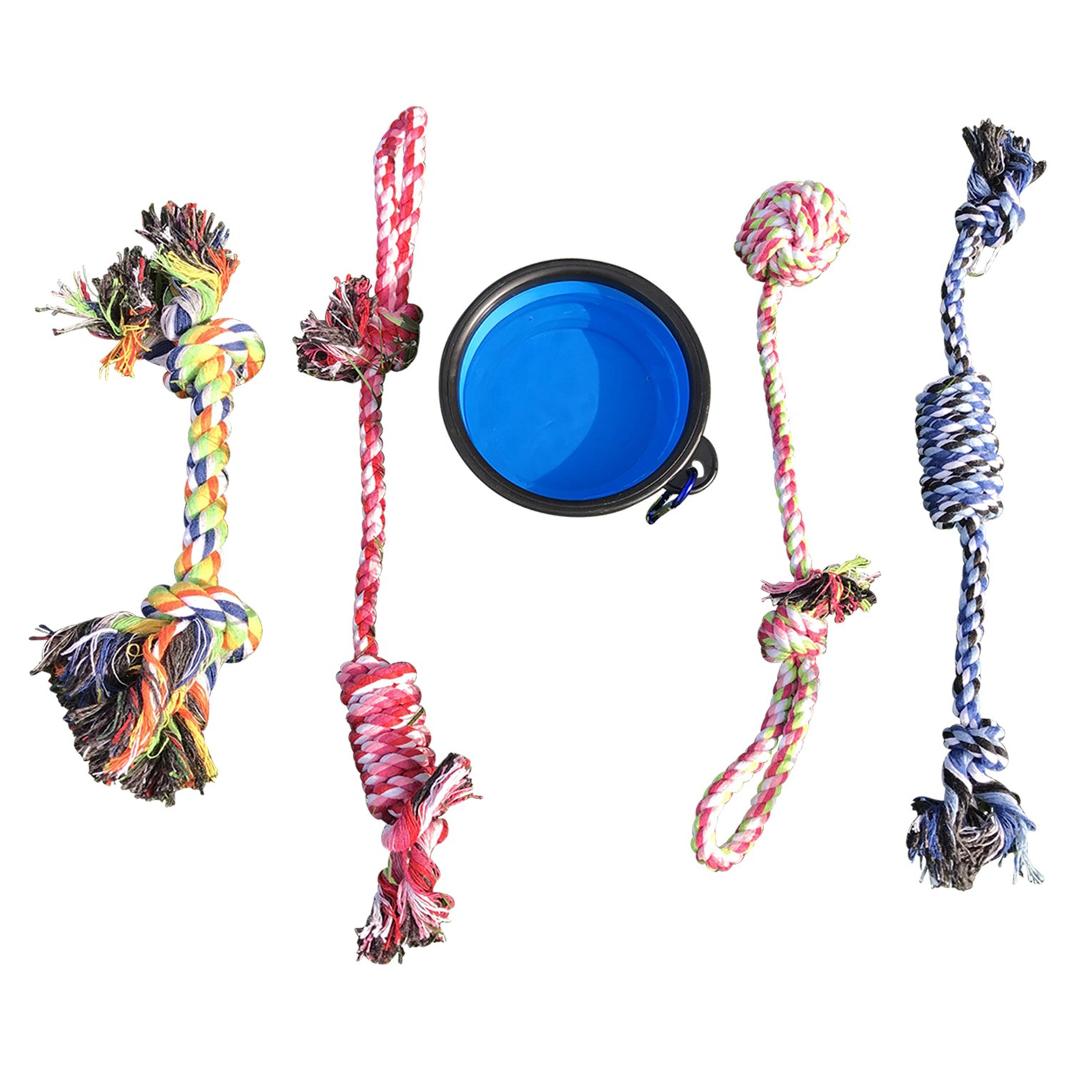 WOOF EXPRESS Dog Rope Chew Toy for Pets (Puppy & Medium) Assorted Color (Set of 5) + BONUS Travel Bowl