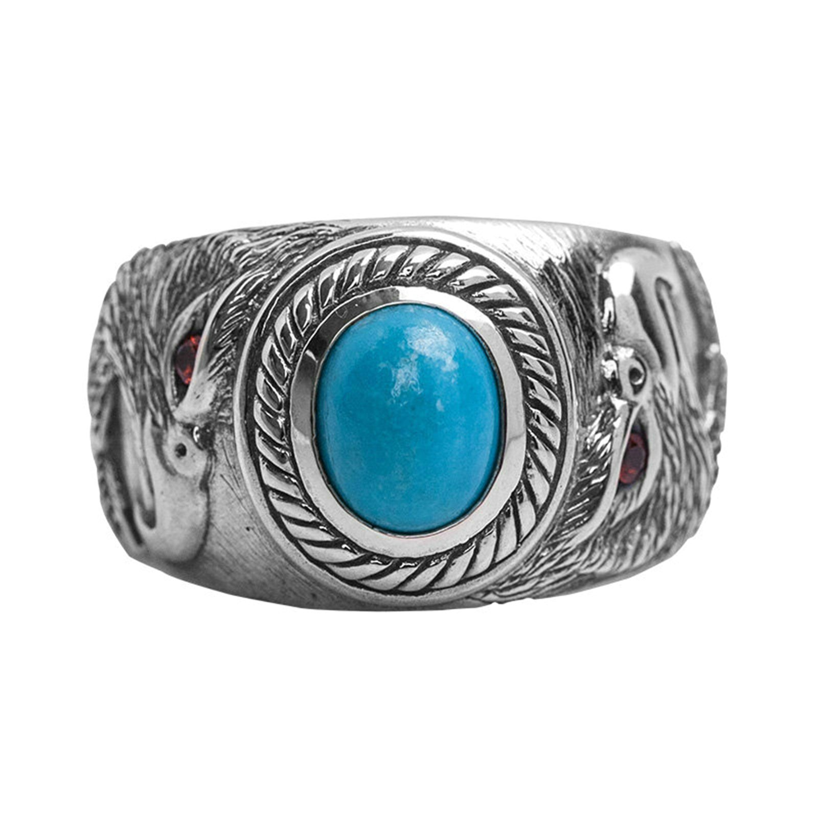 Anazoz S925 Sterling Silver Retro Style Created Turquoise Red CZ Eye Eagle Rings Punk Size 7.5 by AnaZoz