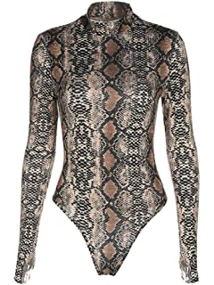 754b3e543659c5 Sorrica Womens Sexy Long Sleeve Snake Skin Print Bodysuit Jumpsuit Mock Neck  Stretchy Leotard Tops Clubwear