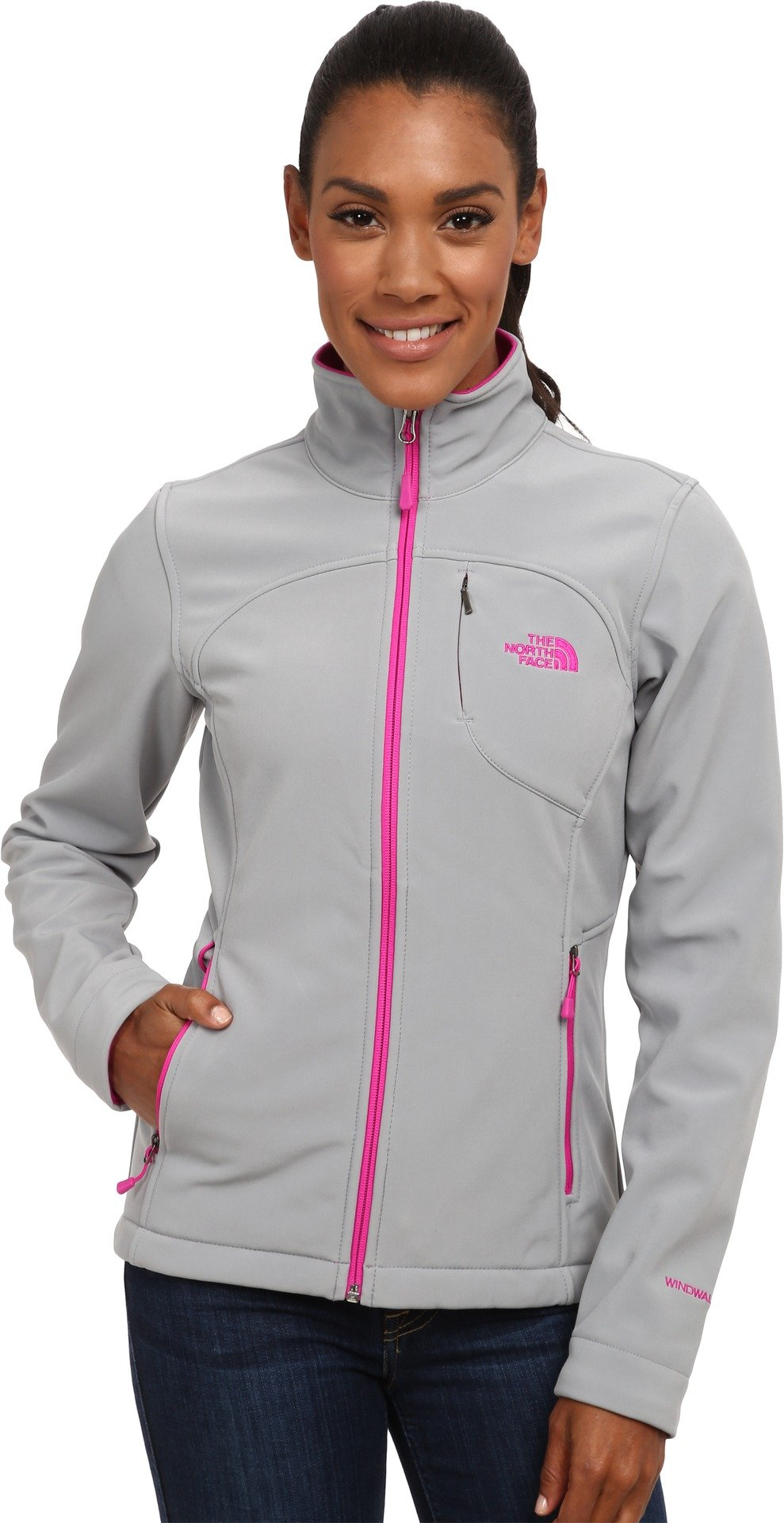 The North Face Women's Apex Bionic Jacket Mid Grey/Luminous Pink (Prior Season) Small