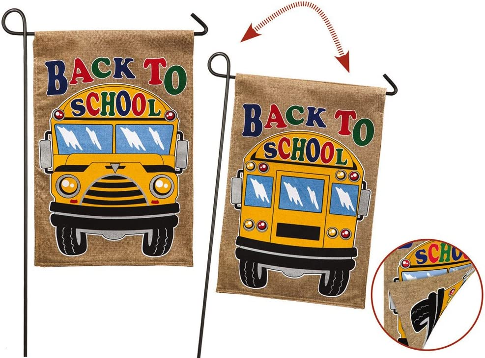 Back to School Bus 2-Sided Garden Flag