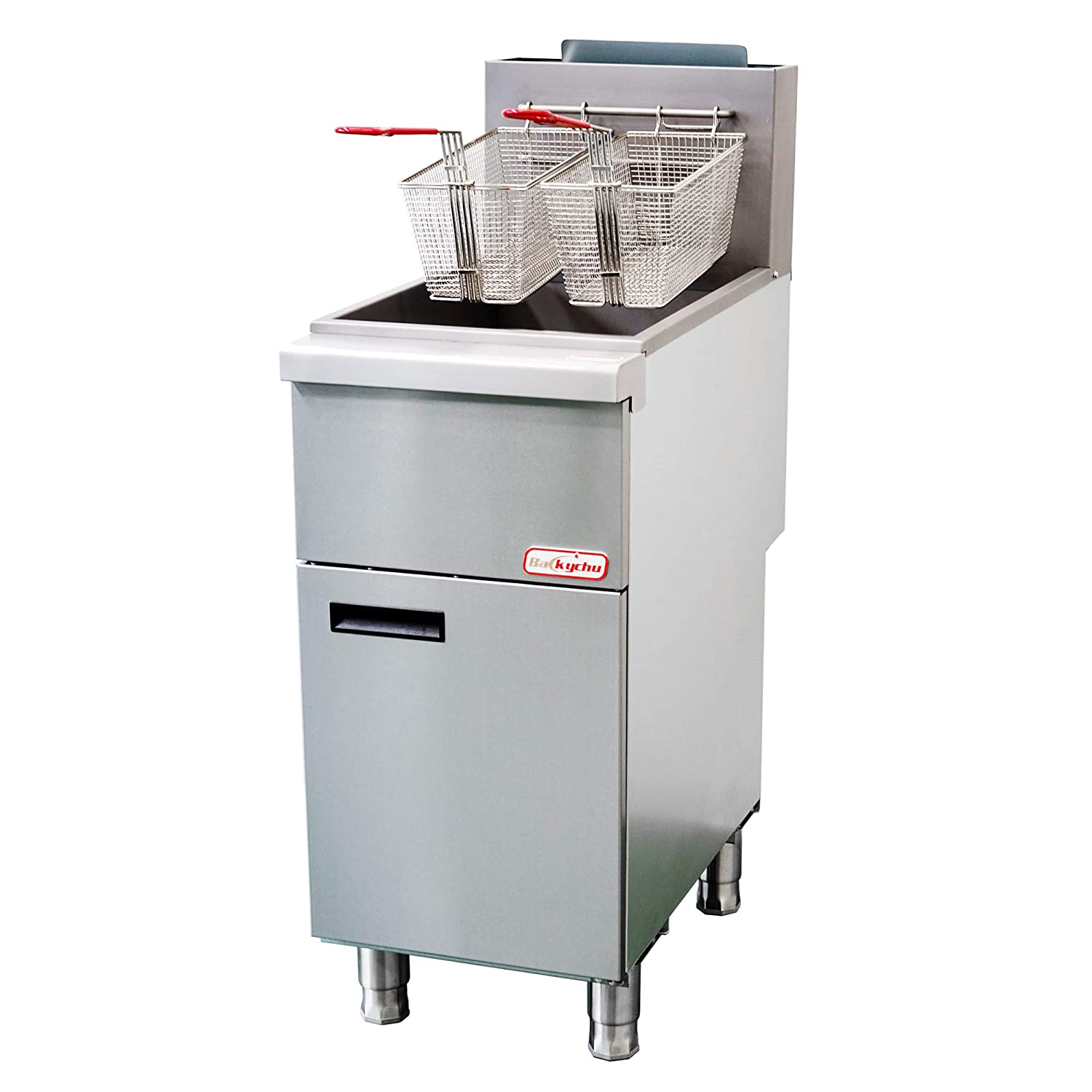 Backychu Commercial Deep Fryer Natural Gas Floor Fryer with Dual Nickel-plated Fryer Baskets for Restaurant, Kitchen, Cooking, Frying, Fish, French Fries, 3 Tube, 90,000 BTU/h, 35-40 lbs