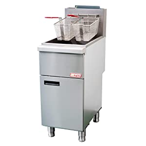 Backychu Commercial Deep Fryer Natural Gas Floor Fryer with Dual Nickel-plated Fryer Baskets for Restaurant, Kitchen, Cooking, Frying, Fish, French Fries, 4 Tube, 120,000 BTU/h, 40-55 lbs
